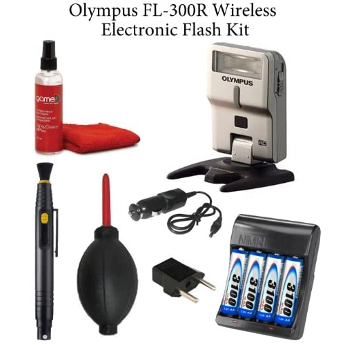 Olympus FL-300R Wireless Electronic Flash + Rapid AA/AAA Battery Charger AC/DC w/ 3100mAh AA Batteries + Lens Pen + Rocket Blower