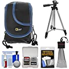 Canon PowerShot Digital Camera Accessory Kit with OSN Compact Digital Camera Case (Black/Blue Trim) + Tripod Accessory Kit for A800 IS, A1200, SX120 IS, SX130 IS, G11, G12, S90, S95, ELPH 100 HS, ELPH 300 HS & ELPH 500 HS