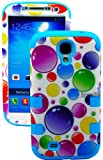 myLife (TM) Sky Blue - Colorful Bubble Pattern Design (3 Piece Hybrid) Hard and Soft Case for the Samsung Galaxy S4