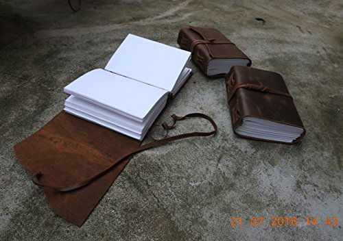 Antique Dark Brown Crazy-Horse Wax Leather Journal (Handmade) - Leather Cord Coptic Bound and leather tie closure 3
