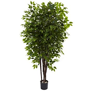 Nearly Natural 5402 Deluxe Ficus Tree, 6.5-Feet, Green