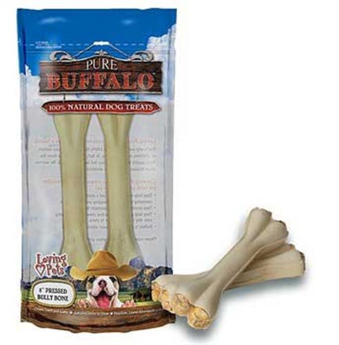 Loving Pets Pure Buffalo 4-Inch Pressed Bully Bone Dog Treat, 5-Pack