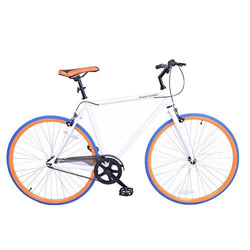 Royal London Fixie Fixed Gear Single Speed Bike White/Orange/Blue