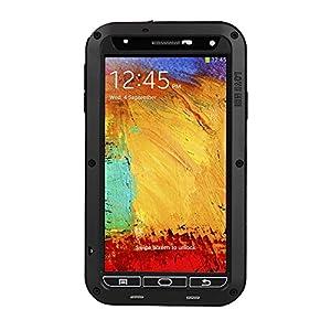 Patuoxun® Wasserspritzte Stoßfest Staubdicht Aluminium Metall Gorilla Fall Schutzhülle für Samsung Galaxy Note 3 III N9000 (Schwarz)