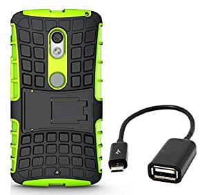 Chevron Tough Rugged Dual Layer Protective Back Cover Case with Kickstand for Moto X Style (Pure Edition) with Micro OTG Cable (OTG for Android Devices) (Green)