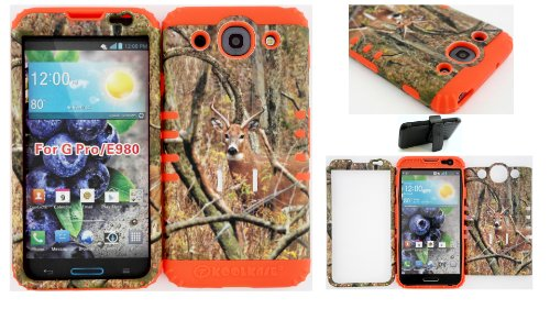 Wireless Fones Tm Lg Optimus G Pro E980 Real Deer Mossy Camo Hard Plastic Snap On + Orange Silicone Kickstand Cover Case, Kickstand Holster Belt Clip Included front-533756