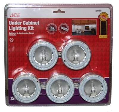 Ace5 Pc- Under Cabnet Lighting Kit With Line Voltage Plug In 120-V With Easy Link Design / Uses 5-20W Bulb (Included Dimmable)