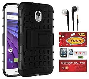 Tidel Hybrid Armor Kick Stand Back Cover Case for Motorola Moto G Turbo Edition (Black) With Tidel Screen Guard & 3.5mm Handsfree Earphone