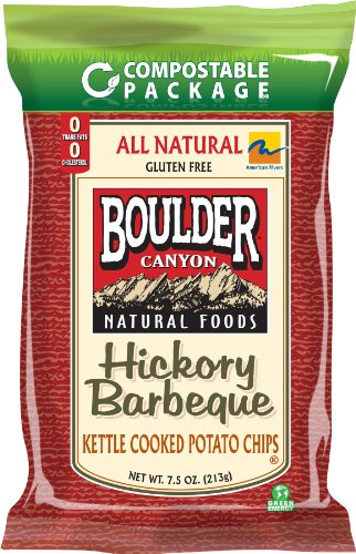 Boulder Canyon Kettle Chips, Hickory BBQ - Compostable Bag, 7.5-Ounce Bags (Pack of 12)