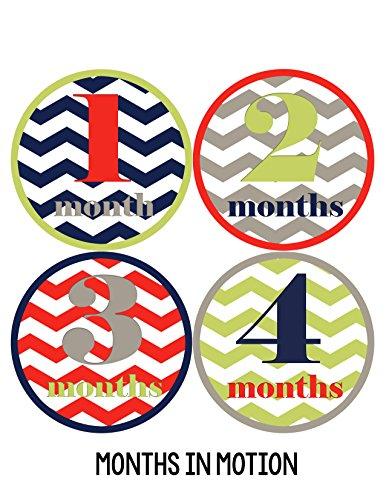 Months in Motion 018 Monthly Baby Sticker Baby Boy Months 1-12 Chevron Milestone