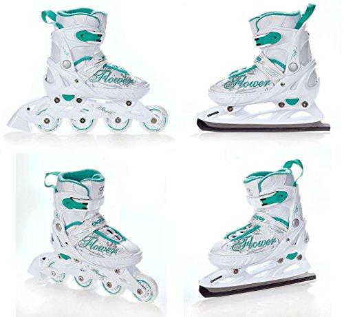 2in1-Schlittschuhe-Inline-Skates-Inliner-Croxer-Flower-WhiteGreen-verstellbar