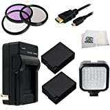 62MM 9PC Accessory Kit For Panasonic Lumix DMC-FZ1000 4K QFHD/HD Digital Camera Includes 3 Piece Filter Kit (UV-CPL-FLD) + 2 Extended Life Replacement Batteries (DMW-BLC12) + AC/DC Rapid Home & Travel Charger + Micro HDMI Cable + LED Video Light + Mic
