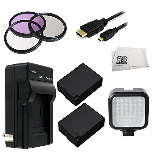 62Mm 9Pc Accessory Kit For Panasonic Lumix Dmc-Fz1000 4K Qfhd/Hd Digital Camera Includes 3 Piece Filter Kit (Uv-Cpl-Fld) + 2 Extended Life Replacement Batteries (Dmw-Blc12) + Ac/Dc Rapid Home & Travel Charger + Micro Hdmi Cable + Led Video Light + Microfi