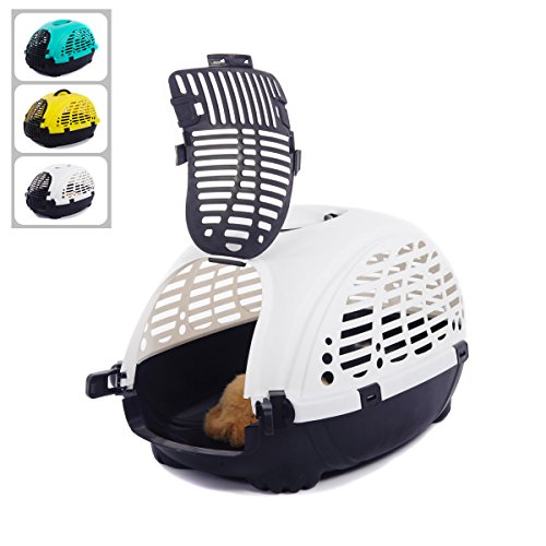 Favorite 20-Inch by 17-Inch by 13-Inch Portable Dog Crate/Pet Cab Carrier/Outdoor Kennel for Small Dogs/Cats/Rabbits Car Travel/Vet Visit, 2 Colors Available, White, Yellow
