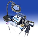"""""""USA EXCLUSIVE"""" X-TRONIC 8020-XTS - """"2 IN 1"""" Antistatic Digital Soldering Iron Station and Hot Tweezers - ESD Safe - C/F - 10 Soldering Tips - Brass Tip Cleaner & Flux - Extra Heating Element - IC Popper - 5X Magnifyng Lamp"""