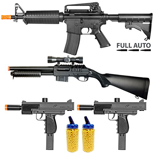 BBTac Airsoft Gun Package - Police Entry Team Collection of 4 Airsoft Guns - Full Auto AEG Airsoft Electric Rifle, Shotgun, SMG and Pistol, 4000 BB Pellets, Great for Starter Pack Game Play (10 Dollar Airsoft Guns compare prices)
