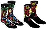 Marvel Avengers Mens Casual Crew Socks 2 Pack Pair Black/black