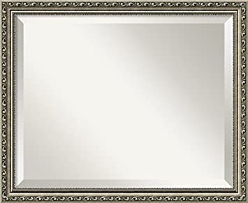"Amanti Art 22"" x 18"" Parisian Silver Wall Mirror, Medium by Amanti Art"
