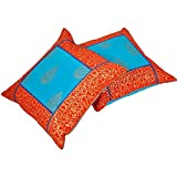 Ufc Mart Jaipuri Gold Print Cotton Cushion Cover Pair, Color: Red And Blue, #Ufc00513