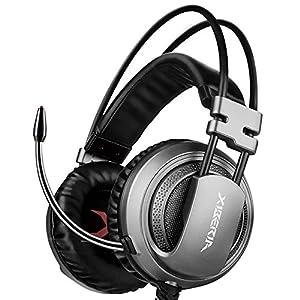 ゲーミングヘッドセット PS4 Xiberia V10 ヘッドホン 3.5mm コネクタ 高集音性マイク付 マイク位置360度調整可能 プレイステーション4 PS4 Xbox One タブレット ノートパソコン iPhone スマートホン などに対応(ダークグレー)