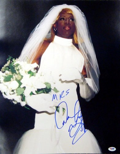 dennis rodman autographed hand signed 16x20 photo in wedding dress