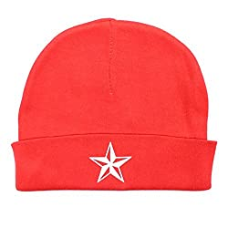 Crazy Baby Clothing White Star Baby Beanie One Size in Color Red