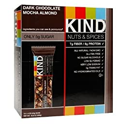 KIND Nuts & Spices Bars, Dark Chocolate Mocha Almond 1.4 oz, 12 - count, Net weight - 16.8 oz