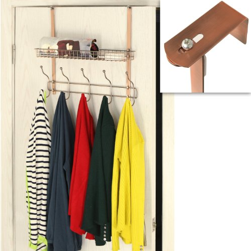 Adjustable Width Over the Door Bronze Metal Clothing Rack / 10 Dual Coat Hanger Hooks w/ Storage Basket (Metal Door Rack compare prices)