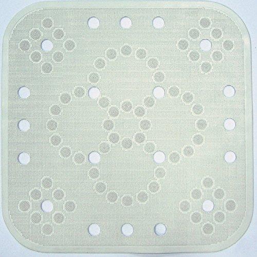 Cenni 84326 Tappeto Antiscivolo Doccia Lux 55x55 in Gomma, Bianco, Made in Italy