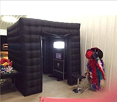 Stagerbooth® One Door Inflatable Portable Photo Booth Tent with 16 Colors LED Changing Lights for Wedding Parties Promotions Advertising Black