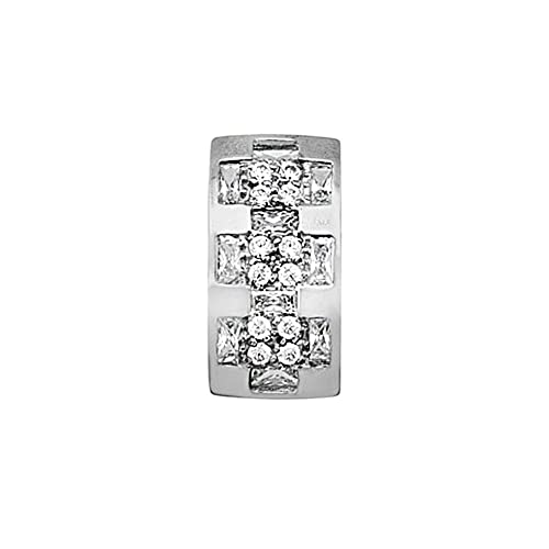 18k white gold pendant zircons wide rows [AA4640]