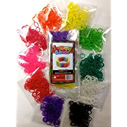 [Best price] Arts & Crafts - Rubber Band Bracelets - 1200 Premium Rainbow Color Loom Bands - 10 Brilliant Colors Conveniently Packed - Includes 25 S-clips and 25 C-clips! - toys-games
