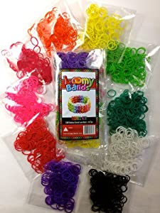 ❤8 FREE CHARMS!❤ Rubber Band Bracelets - 1200 Premium Rainbow Color Loom Bands - 10 Brilliant Colors - 50 S-clips & C-clips! 100% Money Back Guarantee! TOP RATED LOOM BAND PRODUCT ON AMAZON!