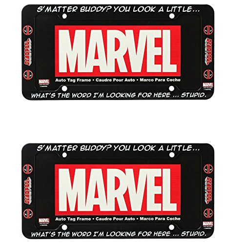 Deadpool Logo Marvel Comics Auto Car Truck SUV Vehicle Universal-fit License Plate Frame - Plastic - PAIR (License Plate Frame Marvel compare prices)