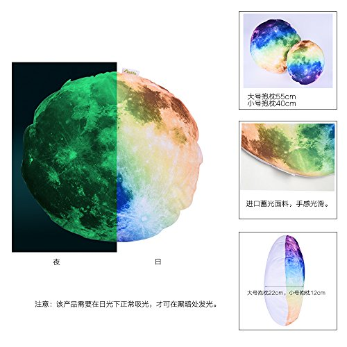 Funlife 3 Colors Available Moon Pattern Moonlight Cushion Glow in the Dark Pillow / Pillow Case Cover for Living Room (L, Multi)