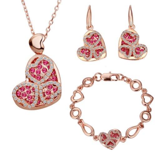 18k Gold Plated Swarovski Elements Crystal CZ Rhinestone jewelry Sets Heart Necklace, Earrings, Bracelets
