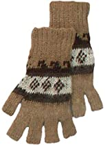 Alpaca Fingerless Gloves - Light Brown