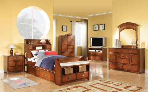 Cheap FULL SIZE YOUTH KIDS BEDROOM COLLECTION ANTIQUE OAK FINISH BRANDON 6 PIECE SET (B008W1B5LM)