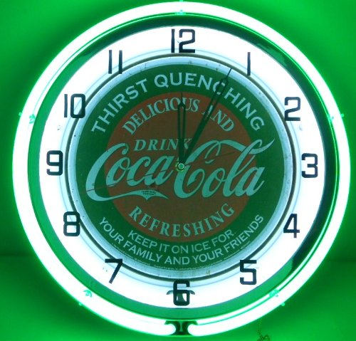 """Coca Cola 18"""" Double Neon Light Chrome Clock Bottle Sign Distressed Vintage Style Green/Red front-72652"""