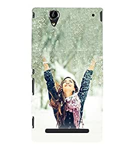 Beautiful Girl in White Snow 3D Hard Polycarbonate Designer Back Case Cover for Sony Xperia T2 Ultra :: Sony Xperia T2 Ultra Dual SIM D5322 :: Sony Xperia T2 Ultra XM50h