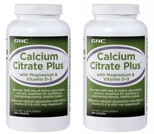 Gnc Calcium Citrate Plus With Magnesium & Vitamin D-3 -- 2 Bottles Each Of 180 Caplets