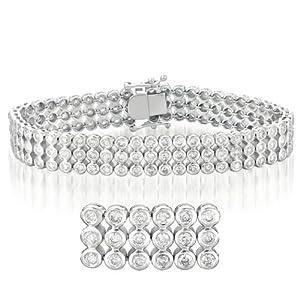 14k White Gold Diamond Tube Bracelet - JewelryWeb