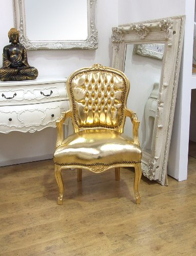 Vintage Retro French Louis XV Style Chair with Gold Leatherette Upholstery and Gold Carved Wood Frame