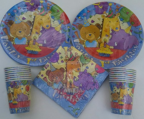 Baby's 1st Birthday Teddy Bear Giraffe Elephant Celebration Theme Plates Cups and Napkins (Teddy Bear Theme compare prices)