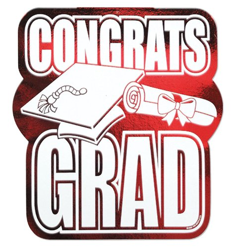 Printed Foil Congrats Grad Cutout (red) Party Accessory  (1 count)