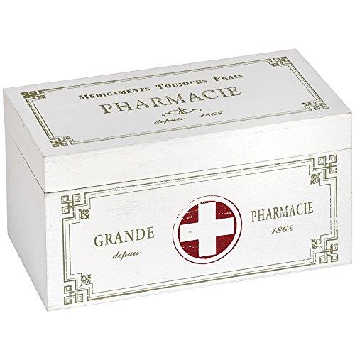 Hill Interiors - Scatola medicine in legno Vintage (Taglia unica) (Bianco)
