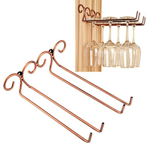 Wine Glass Rack, 2 Rows Stainless Steel Wall-Mounted Wine Glass Hanger For Bar Home By Hmane (Wood Wine Glass Hanging Rack compare prices)