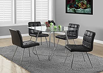 "CHROME METAL / 8MM TEMPERED GLASS 40""DIA DINING TABLE (SIZE: 40L X 40W X 31H)"