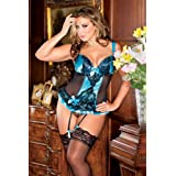 ICOLLECTION LINGERIE 7242X 2pc: Contrast stretch satin and mesh bustier with lace overlay accents and ruffled hem. Matching lace g-string and garters included.