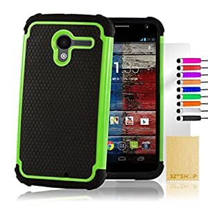 32nd Shock proof dual defender case cover for Motorola Moto X (2013 edition) + screen protector, cleaning cloth and touch stylus - Green